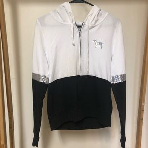 VS PINK Black and White Silver Sequin Hoodie